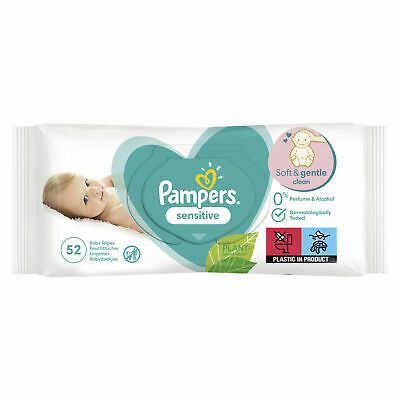 Pampers Baby Changing Wipes Sensitive Clean Scent Hygienic Disposable - 52 Pack • 4.39£