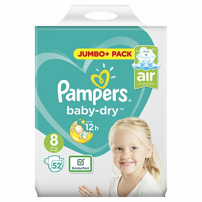 View Details Pampers Baby Dry Size 8 Nappies Diapers With Air Channels - Jumbo+ Pack Of 52 • 16.07£