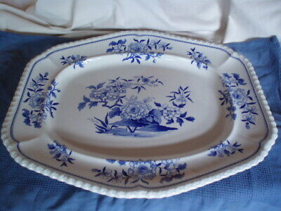 Good Large Antique Early 19th C Blue & White Ridgway Stone China Serving Dish • 9.99£