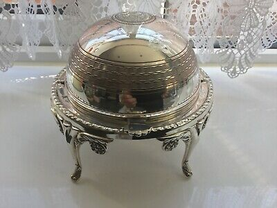 Superb Vintage Silver Plated Chased Roll Top Butter/ Caviar Dish • 43£