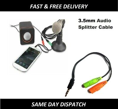 Stereo Headphone Microphone 3.5mm Audio Splitter Cable Adapter Male To 2 Female • 3.49£