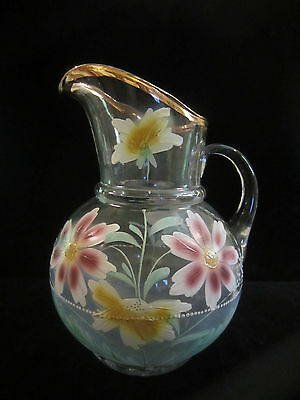 $45 • Buy Antique Victorian Hand Painted Enamel Glass Lemonade Ice Tea Water Pitcher  64oz