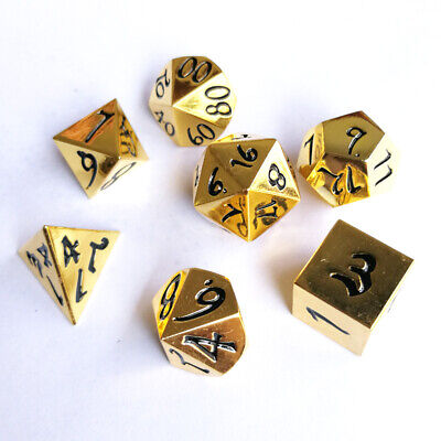 AU26 • Buy 7Pcs Gold Solid Metal Dice Set Dungeons & Dragons DnD