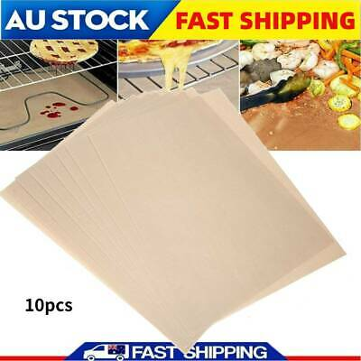 AU21.99 • Buy 10x BBQ Grill Mat Reusable Bake Sheet Resistant Teflon Meat Barbecue Non-Stick