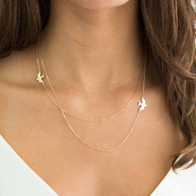 Double Necklace Simple Dainty Karma Choker Fashion Jewellery Pendant Gold/Silver • 4.49£