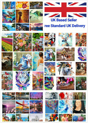 DIY Oil Acrylic Painting Kit Paint By Numbers Adult Children Beginners Frameless • 8.99£