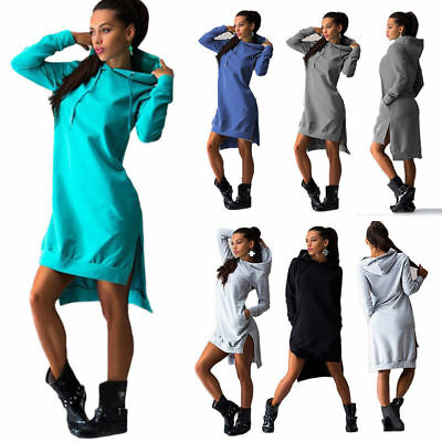 Women Long Sleeve Hoodies Ladies Jumper Sweatshirt Long Hooded Tops Mini Dress • 9.87£