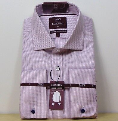 M&S LUXURY Superior Cotton SLIM FIT Double Cuff SHIRT ~ Size 15.5  ~ PINK Mix • 21.99£