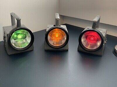 Set Of Three Working Vintage BR Multicolour Signalling Lamp • 135£