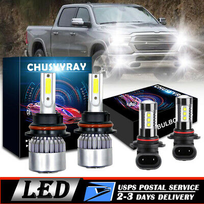$31.33 • Buy For 2002-2005 Dodge Ram 1500 2500 3500 - LED Headlight Fog Light Bulbs 9007+9006
