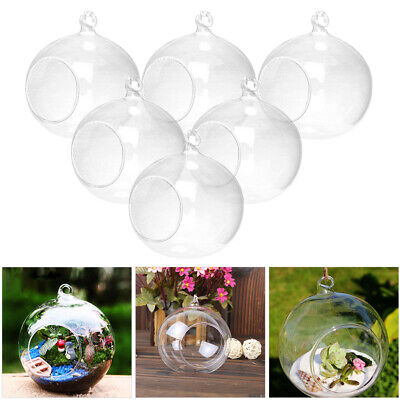 Glass Clear Open Mouth Bauble Round Candle Tea Light Holder Hanging Bables Gifts • 11.95£