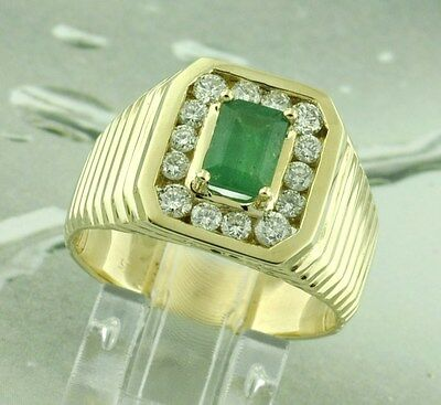$1688 • Buy 14k Solid Yellow Gold  Men's Natural Colombian Emerald  Diamond Ring 1.69 Carats