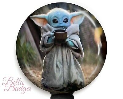 $10.95 • Buy Baby Yoda Drinking Soup Star Wars Badge Reel Name Tag ID Pull Clip Holder