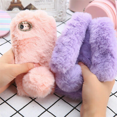 For IPhone 11Pro Max XR/XS/8/7/6s Plus Rabbit Bunny Ear Fluffy Phone Case Covers • 3.19£