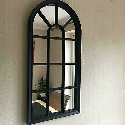 £25.50 • Buy 70cm Black Window Style Arched Wall Hanging Mirror Glass Panel Vintage Shabby