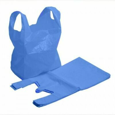 STRONG QUALITY Blue Plastic Vest Carrier Bags 11x17x21 Shopping Takeaways 21mu • 0.99£