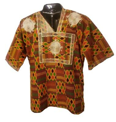 $38 • Buy African Unisex Orange And Multicolored Dashiki With Beige Embroidery