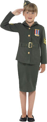 £17.99 • Buy Children's Fancy Dress Girls WW2 Army Girl Costume Complete Outfit Khaki Green