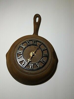 Vintage Cast Iron Frying Pan Skillet Kitchen Wall Clock • 42.03£
