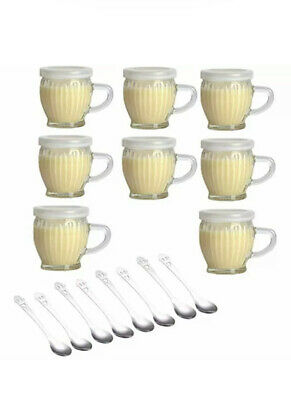 $29.99 • Buy 8 Pack Of 4 Oz Wide Mouth Crystal Jelly Cup W Handle Lids PE & Spoons Airtight C
