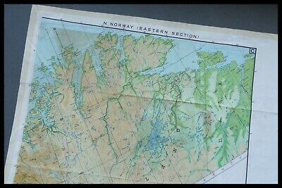 WWII Pilots RAF Silk Escape And Evasion Map Double Sided, NORWAY SWEDEN FINLAND • 195£