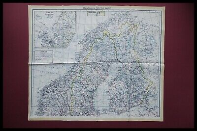 WWII Pilots RAF Silk Escape And Evasion Map Double Sided, Scandinavia 1940's • 260£
