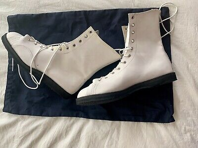 $120 • Buy Leather White Pro Wrestling Boots! Size USA 12.5