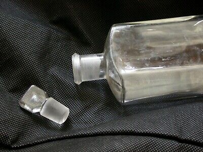 £10 • Buy Ground Glass Stopper Clear Rectangular 7.5 Inches Apothecary Chemist Bottle
