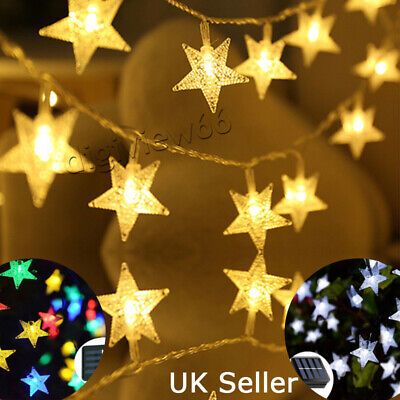 30 60 LED Solar Powered Fairy String Twinkle Star Lights Outdoor Garden Party UK • 10.81£