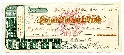 $3.99 • Buy 1896. Parkersburg, West Virginia.   Second National Bank Check