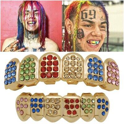 Rainbow Iced Gold Grill Tooth Clip Full Mouth Plated Teeth Cap Grills Hip Hop UK • 9.99£