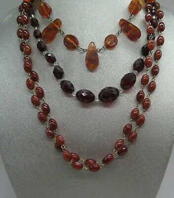 $ CDN231.19 • Buy Estate Lot Vintage  Amber Necklaces Earrings Sterling Silver