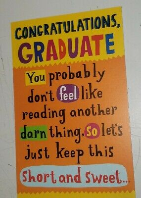 $2.28 • Buy GRADUATION Greeting CARD Congratulations Graduate Funny Humorous With Envelope