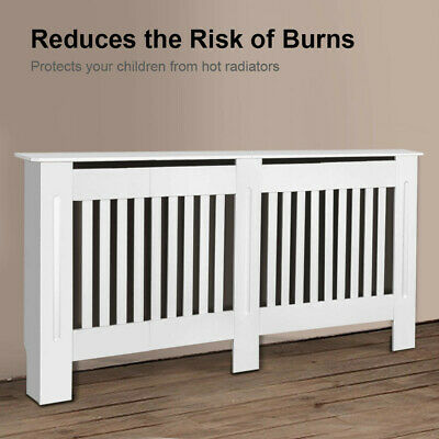 £28.99 • Buy Horizontal Radiator Cover White Painted Cabinet MDF Wood Traditional Furniture