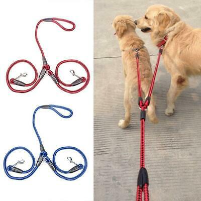 AU16.99 • Buy Dual Double Pet Dog Lead Leash 2 Way Nylon Rope For Jogging Walking Safety Chain