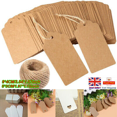 50/100 Christmas Kraft Paper Gift Tags Price Wedding Scallop Label Blank Luggage • 2.85£