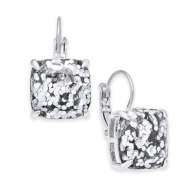 $ CDN39.50 • Buy KATE SPADE Square Silver Glitter Leverback Earrings