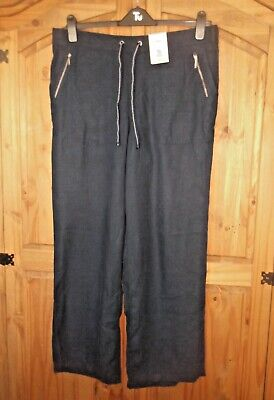 TU Ladies BLUE LINEN Mix TROUSERS With POCKETS Size 16 • 11£