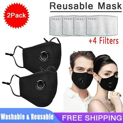 AU4.99 • Buy 2X PM2.5 Anti Air Pollution Face Mask Respirator With Filters Washable& Reusable