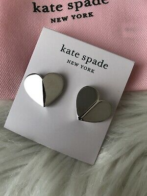 $ CDN48.87 • Buy New Kate Spade Heart Stud Earrings Silver Tone Great Gift