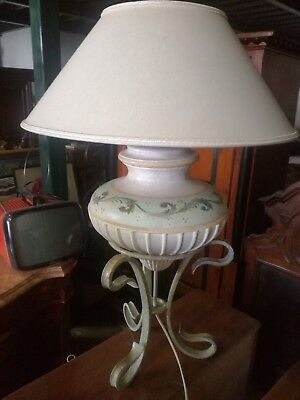 £153.43 • Buy Table Lamp Lampshade Terracotta Painted Wrought Iron Tuscany