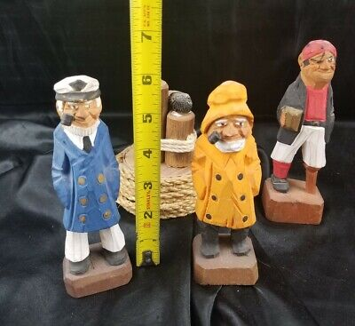 $27 • Buy Set Of 4 Hand Carved Wooden Sailor Pirate Figures - Nautical Hand Carved!