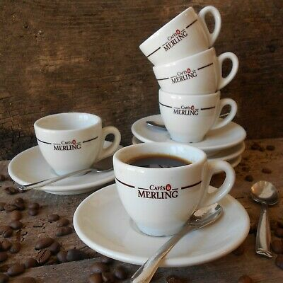 £80 • Buy Set Of Five French 'Cafés Merling' Espresso Cups And Saucers. French Coffee Cups