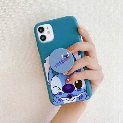 For IPhone 11 Pro XS Max XR 7 8+ New Cute Cartoon Stitch Stand Holder Phone Case • 3.92£