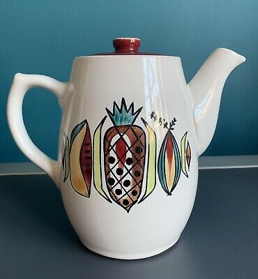 Langley Mill Pottery Jamaica Coffee Pot Hand Painted Tropical Fruit 1960s Denby • 14.95£