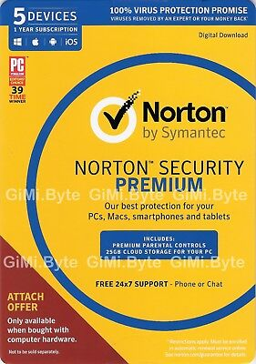 AU45.90 • Buy Norton Internet Security Premium 5 Devices Anti-Virus 2020 Windows Mac Android