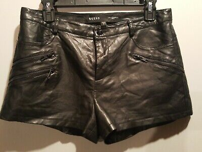 $12 • Buy Guess Los Angeles 1981 Black Real Feel Leather Shorts Fully Lined Sz 6