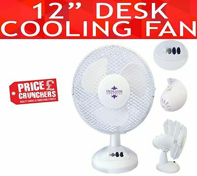 Oscillating Electric Desk Fan 3 Speed Silent Portable Home Office Cooling   • 13.99£