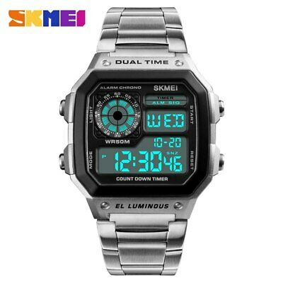 $ CDN15.95 • Buy Men's Watches Luxury Sports Watch Stainless Steel Digital Wristwatch Waterproof