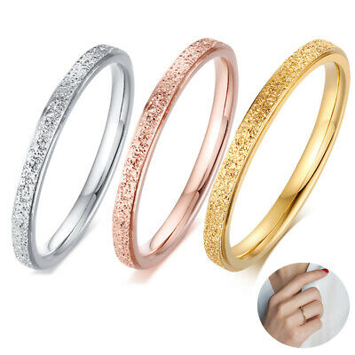 $5.64 • Buy 2mm Stainless Steel Womens Party Wedding Ring Band Gold Silver Rose Ring #4-9